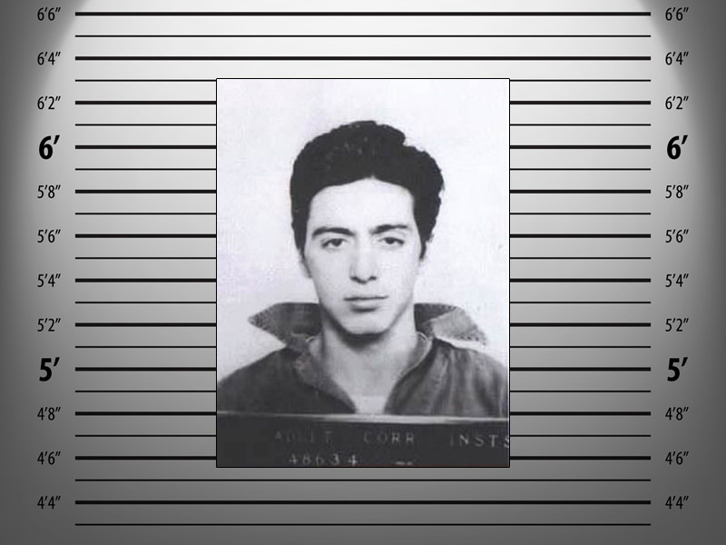 Al Pacino was arrested in 1961 for carrying a concealed weapon. He was 21-years-old when this mug shot was taken.