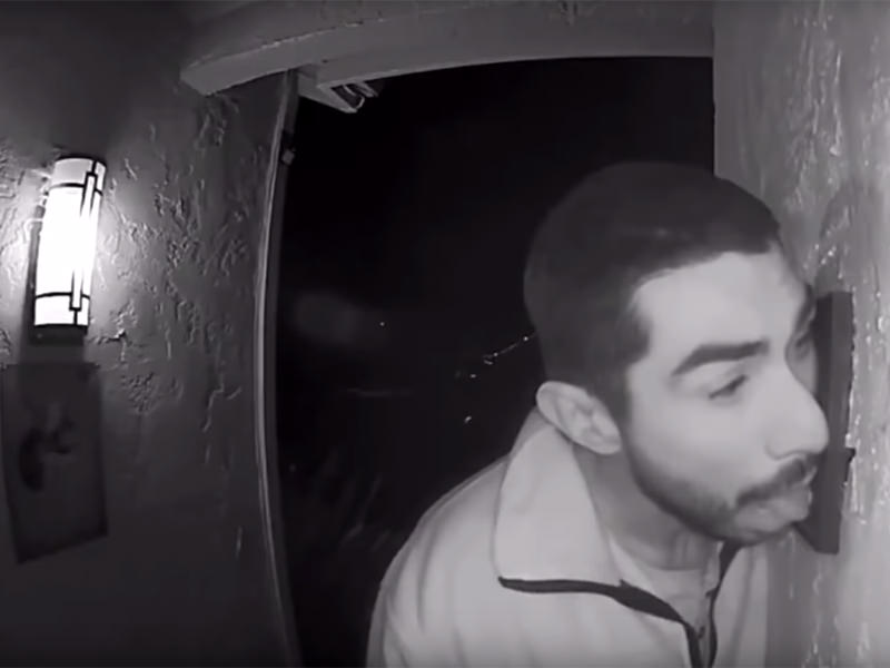 Creepy Man Caught On Video Licking Doorbell