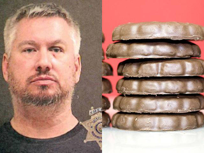 A man is accused of staging a home invasion in an effort to cover up his theft of more than $700 from his daughter's Girl Scouts cookie sales.