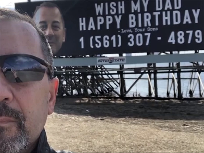 The man's phone has been inundated with texts and calls from well-wishers ever since his sons bought him a billboard near Atlantic City.