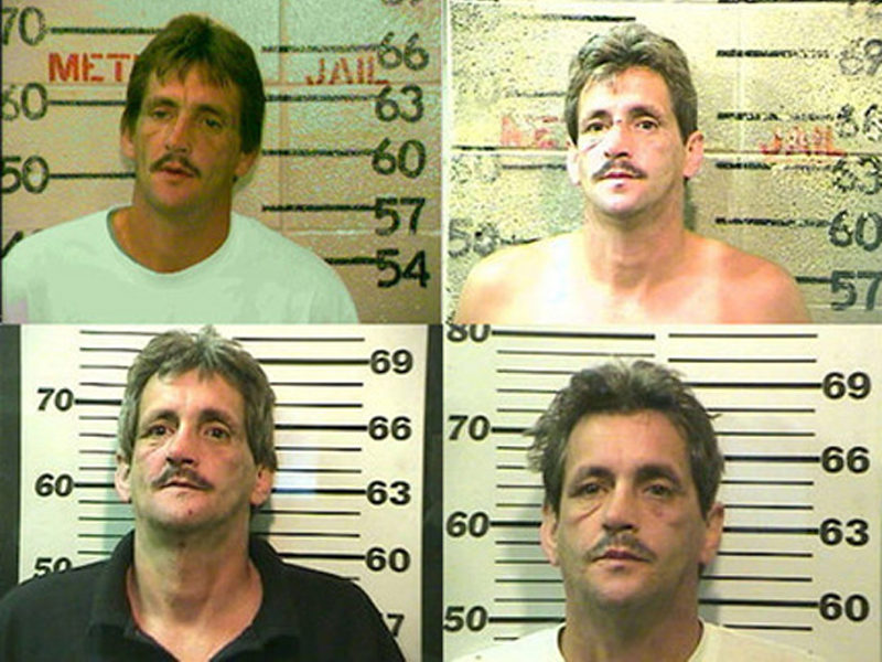 A series of jailhouse mug shots document some of William Bradley Bankston's visits to jail.