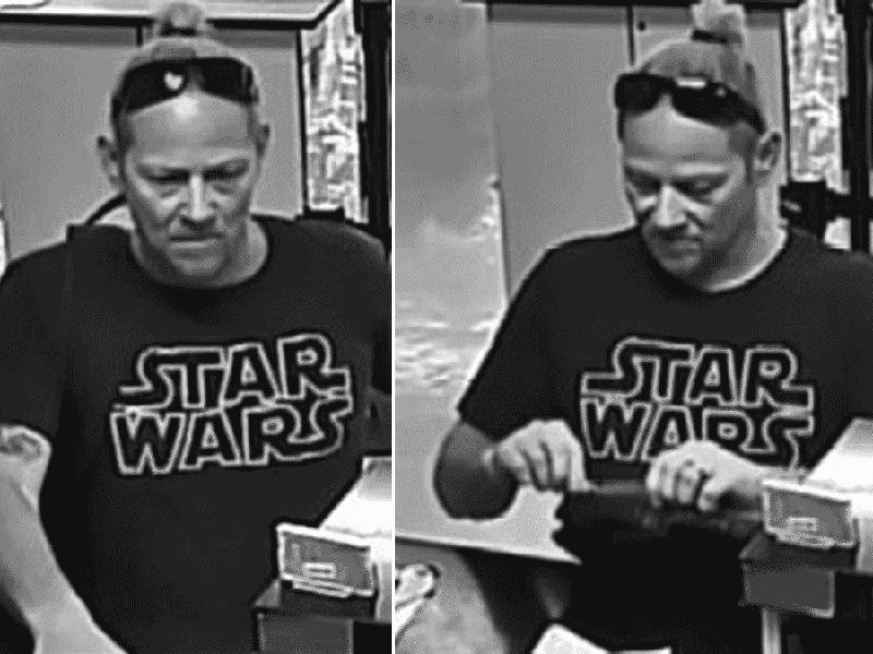 "Authorities are searching for a man who robbed a bank Monday afternoon wearing a black ""Star Wars"" T-shirt."