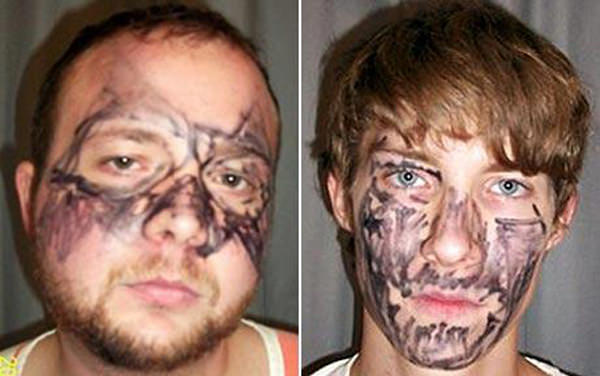 These two boneheads used markers to draw a beard on each others faces!